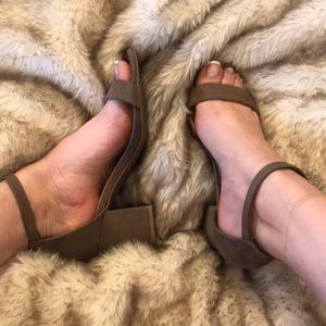 2 strap suede sandals